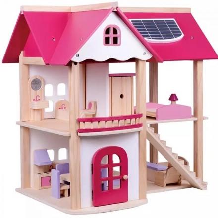 Tulimi Dřevěný domeček pro panenky, růžový