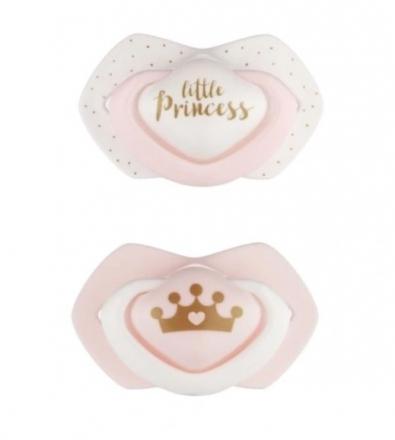 Canpol Babies 2 ks symetrických silikonových dudlíků, 0-6m, Little princess, růžový