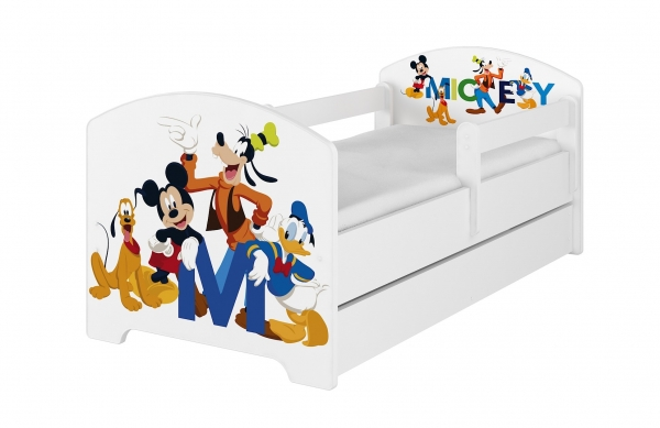 BabyBoo Dětská postel Disney - Mickey s kamarády - bílá, s matrací + šuplík, 160 x 80 cm