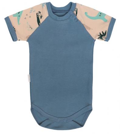 Mamatti Dětské body kr. rukáv, Dinosaurus - modré, vel. 86