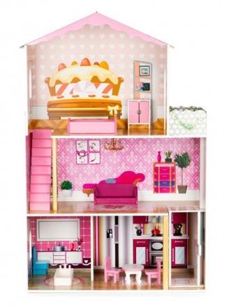 Dřevěný domeček pro panenky s výtahem ECO TOYS - Rezidence dortík