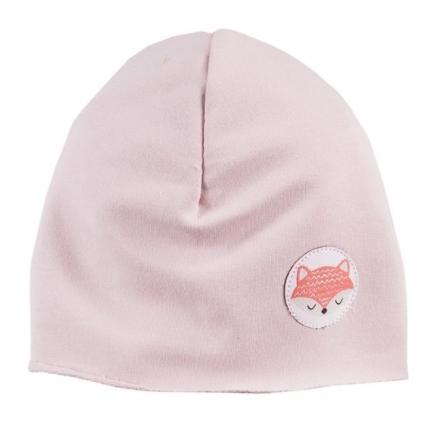 EEVI Dětská jarní/podzimní bavlněná čepice - Adventure Liška - sv. růžová, 42 - 44 cm