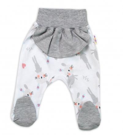 Baby Nellys Bavlněné kojenecké polodupačky, Cute Bunny s volánkem - šedé