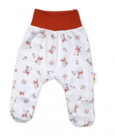 Baby Nellys Bavlněné kojenecké polodupačky, Teddy - bílé, vel. 62