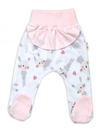 Baby Nellys Bavlněné kojenecké polodupačky, Cute Bunny s volánkem - růžové