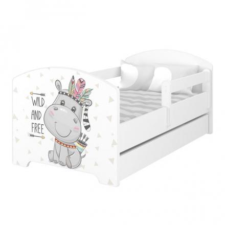 BabyBoo Dětská postel 140 x 70cm - Hippo + šuplík