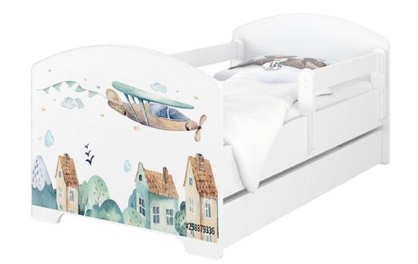 BabyBoo Dětská postel 140 x 70cm - Letadlo + šuplík