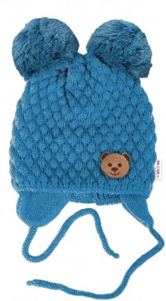 BABY NELLYS Zimní pletená čepice Teddy Bear na zavazování, modrá, 68/80, (6-12m)
