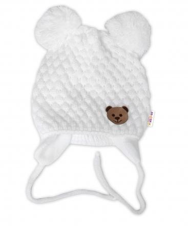 BABY NELLYS Zimní pletená čepice Teddy Bear na zavazování, bílá, 68/80, (6-12m)