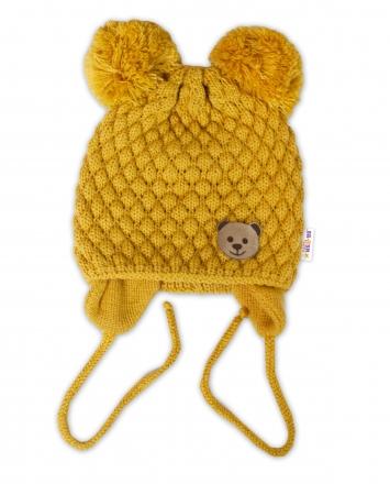 BABY NELLYS Zimní pletená čepice Teddy Bear na zavazování, hořčicová, 68/80, (6-12m)
