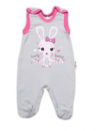 Baby Nellys bavlněné dupačky Lovely Bunny - šedé/růžové, vel. 68