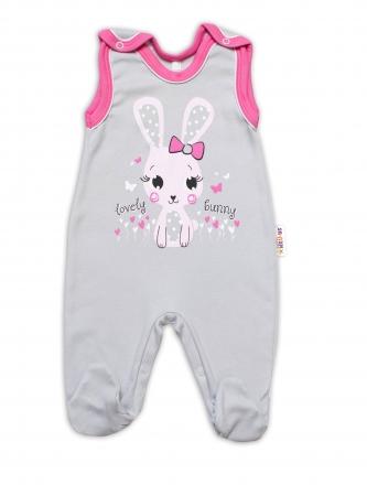 Baby Nellys bavlněné dupačky Lovely Bunny - šedé/růžové, vel. 74