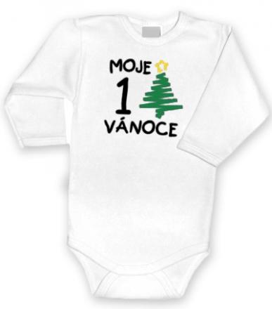 Baby Dejna 1. Vánoce - Body dl. rukávek bílé - bílé, vel. 80