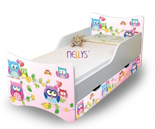 NELLYS Dětská postel se zábranou a šuplík/y Sovičky - 160x80 cm