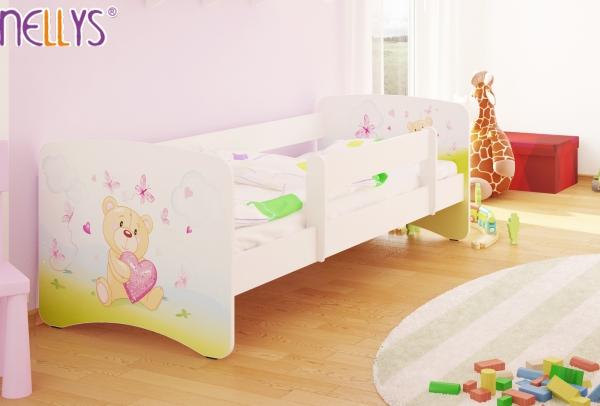 NELLYS Dětská postel s bariérkou Nico - Míša srdíčko/bílá - 160x80 cm