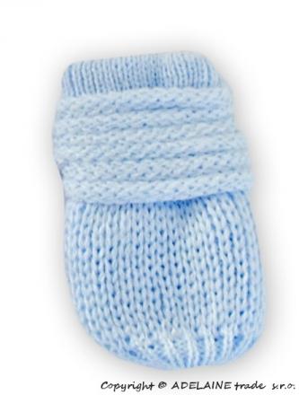 BABY NELLYS Zimní pletené kojenecké rukavičky - sv. modré