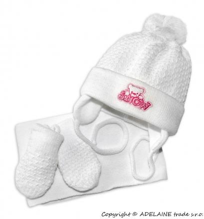 Sada - čepička, šál a rukavičky Medvídek - bílý (růžová výšivka)