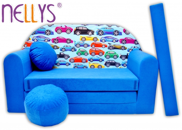 Rozkládací dětská pohovka Nellys ® 64R - Malá autička v modré