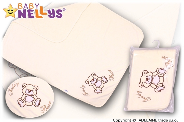 Baby Nellys Deka/dečka froté/velur - Medvídek Teddy Bear - smetanová Baby Nellys