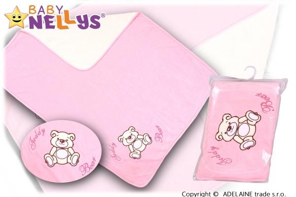 Baby Nellys Deka/dečka froté/velur - Medvídek Teddy Bear - sv. růžová Baby Nellys