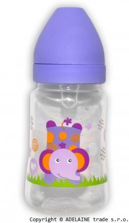 Lahvička Akuku 125ml - fialová se slonem