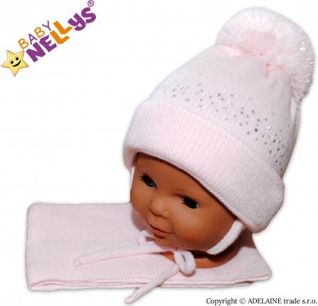 Baby Nellys Zimní čepička s bambulí a šálou - sv. růžová s kamínky