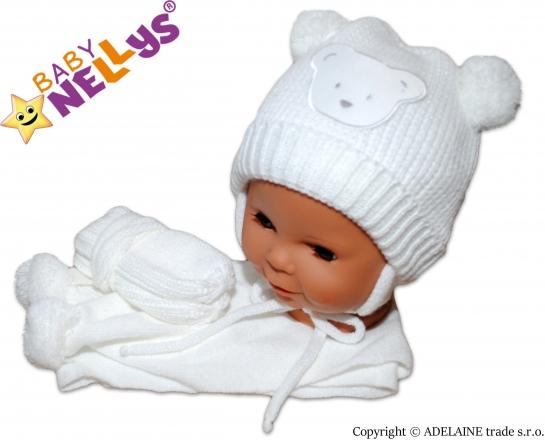 BABY NELLYS Sada - čepička, šál a rukavičky - Medvídek s bambulkami