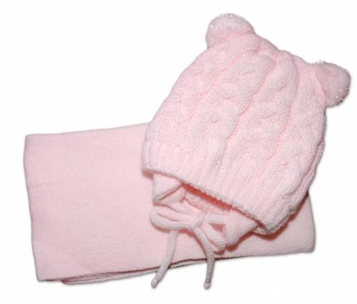 BABY NELLYS Zimní pletená čepička s šálou TEDDY - sv. růžová, vel. 62/68