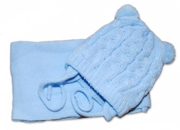 BABY NELLYS Zimní pletená čepička s šálou TEDDY - modrá s bambulkami, vel. 2-8m