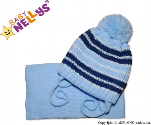 BABY NELLYS Zimní pletená čepička se šálou - pruhovaná modrá