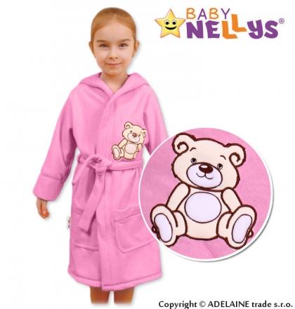 Baby Nellys Dětský župan - Medvídek Teddy Bear - sv. růžový Baby Nellys