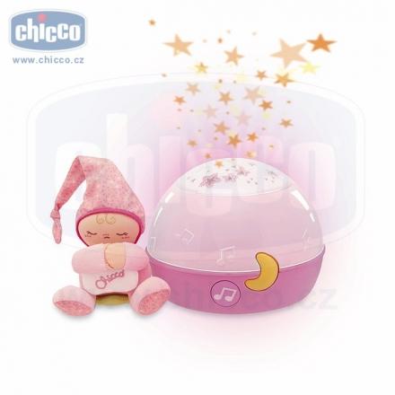 Chicco Lampička hrající noční obloha - růžová