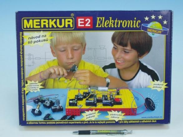 Stavebnice MERKUR E2 elektronic v krabici 36x27x6cm