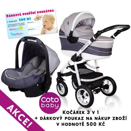 Kočárek Aprilia Coto Baby 3v1 + dárkový poukaz na 500kč - pattern light grey