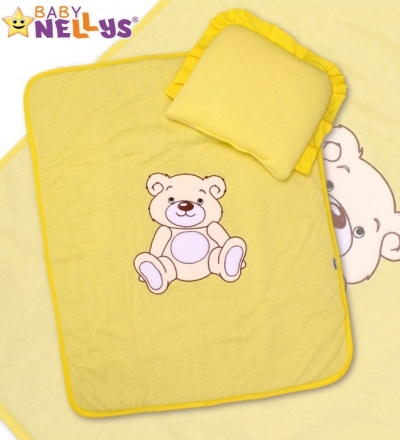 Baby Nellys 2-dílná sada do kočárku jersey Medvídek Teddy Bear - krémově žlutá Baby Nellys