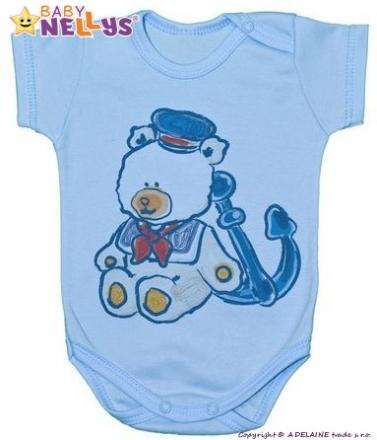 Body kr. rukáv Baby Nellys ® - Medvídek - námořník - modré Baby Nellys