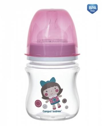 Antikoliková lahvička se širokým hrdlem Canpol Babies Easy Start - TOYS 120 ml - růžová Canpol Babies