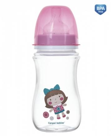Antikoliková lahvička se širokým hrdlem Canpol Babies Easy Start - TOYS 240 ml - růžová Canpol Babies