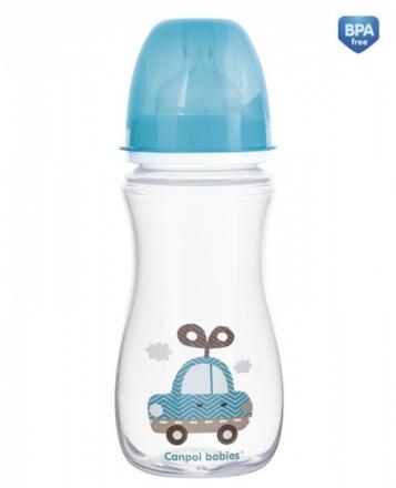 Antikoliková lahvička se širokým hrdlem Canpol Babies Easy Start - TOYS 300 ml - modrá Canpol Babies