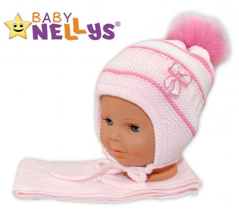 BABY NELLYS Zimní čepička s šálou - Mašlička - růžová s pruhy, chlupáčková bambulka