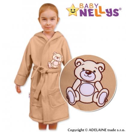 Baby Nellys Dětský župan - Medvídek Teddy Bear - béžový/kávový Baby Nellys