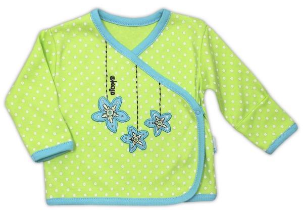 Košilka NICOL KVĚTINKA - zapínání bokem - zelená puntík