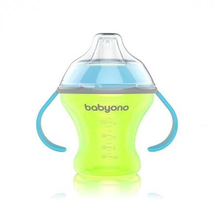 BabyOno Nekapající hrneček s měkkým pítkem - zeleno/modrý