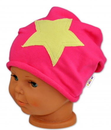Bavlněná čepička STARS Baby Nellys ® - malinová 48-50