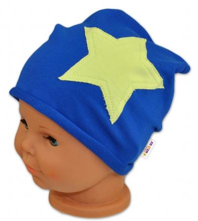 Bavlněná čepička STARS Baby Nellys ® - tm. modrá, 48-50