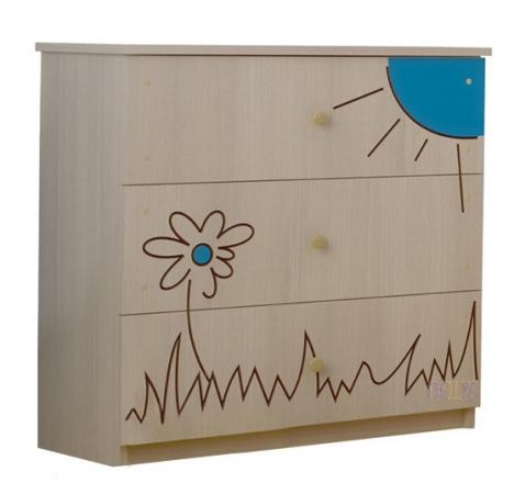 BabyBoo Dětská komoda - Medvídek květinka modrá
