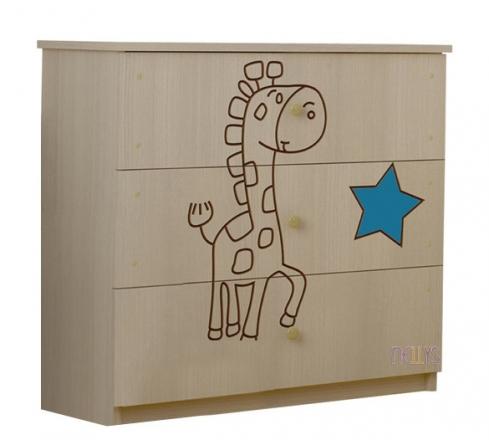 BabyBoo Dětská komoda - Žirafka modrá