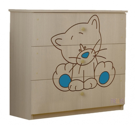 BabyBoo Dětská komoda - Kočička modrá