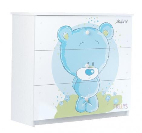 BabyBoo Dětská komoda - Medvídek STYDLÍN modrý, D19