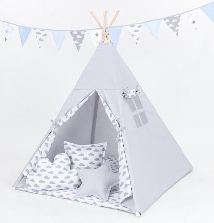 Mamo Tato Stan pro děti teepee, týpí s výbavou - šedý/mráčky šedé na bílém